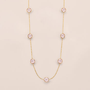 Rose Quartz Station Necklace in 14kt Yellow Gold, , default