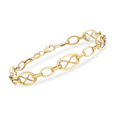 Italian Oval and Infinity-Link Bracelet in 14kt Yellow Gold, , default