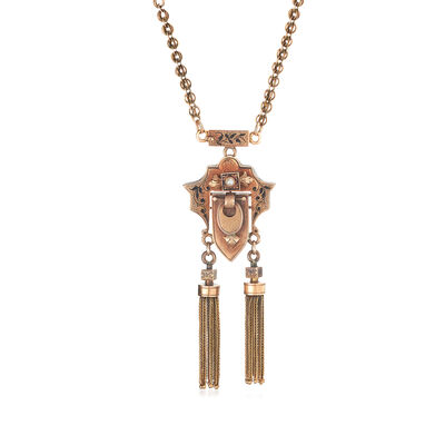 C. 1910 Vintage 12kt Yellow Gold Tassel Necklace with Seed Pearl and Black Enamel, , default