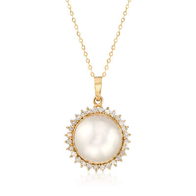 C. 1980 Vintage 17mm Mabe Pearl and 1.15 ct. t.w. Diamond Pendant Necklace in 14kt Yellow Gold, , default