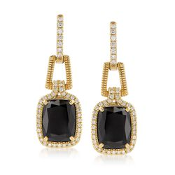 "Judith Ripka ""Arianna"" Black Onyx and .45 ct. t.w. Diamond Drop Earrings in 18kt Yellow Gold, , default"