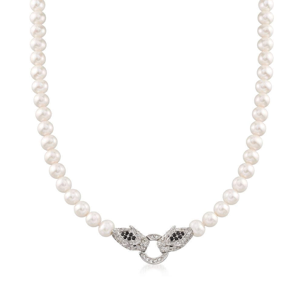 b997f7471ba92 6-7.5mm Cultured Pearl and 1.60 ct. t.w. Multi-Stone Double Panther ...