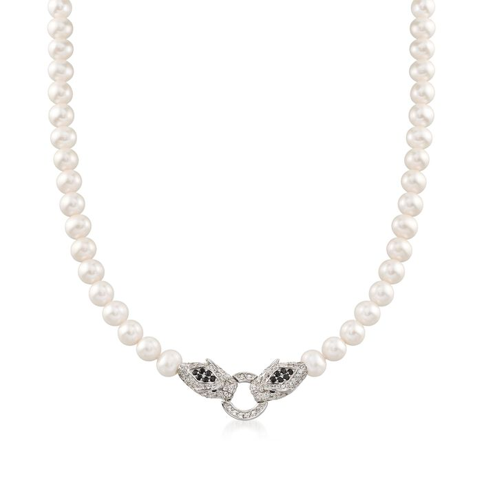 6-7.5mm Cultured Pearl and 1.60 ct. t.w. Multi-Stone Double Panther Head Necklace in Sterling, , default