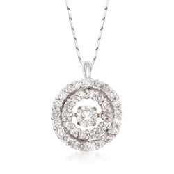 "1.00 ct. t.w. Floating Diamond Double Halo Pendant Necklace in 14kt White Gold. 18"", , default"