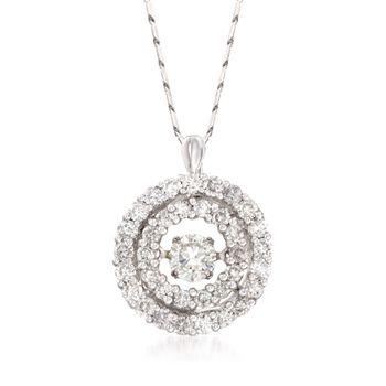 """1.00 ct. t.w. Floating Diamond Double Halo Pendant Necklace in 14kt White Gold. 18"""", , default"""