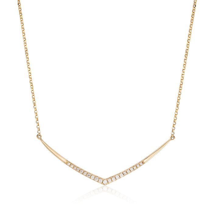 .10 ct. t.w. Diamond V-Necklace in 14kt Yellow Gold, , default