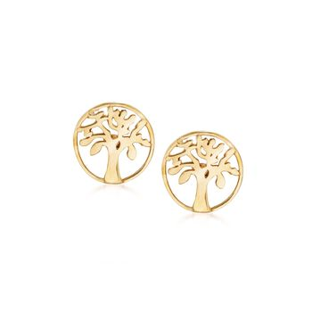 18kt Yellow Gold Tree of Life Stud Earrings, , default