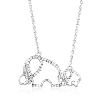 .25 ct. t.w. Diamond Double-Elephant Necklace in Sterling Silver