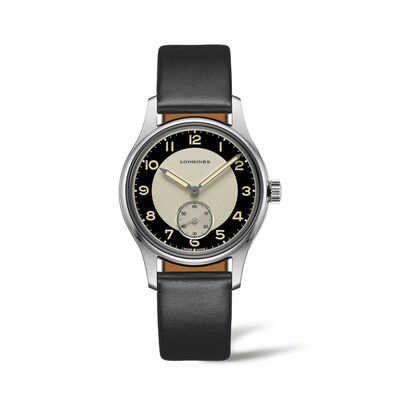 Longines Heritage Men's 38mm Automatic Stainless Steel Watch with Black Leather