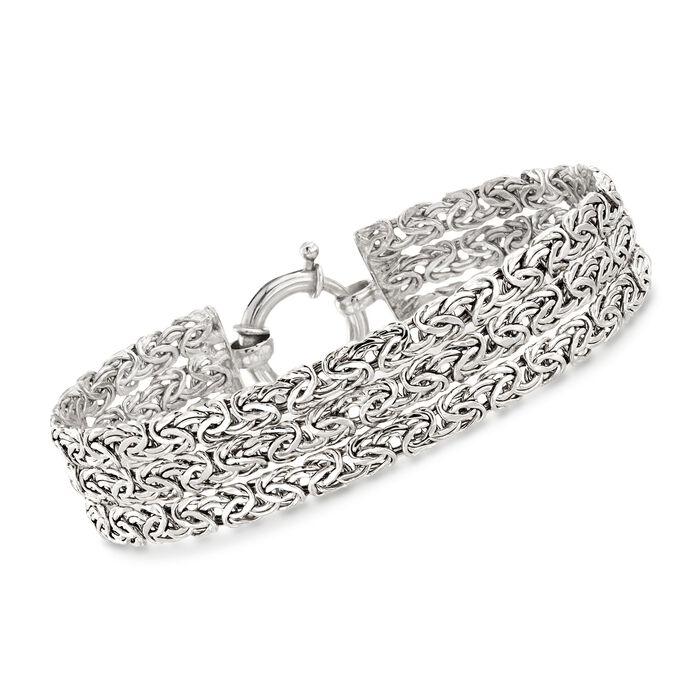 Sterling Silver Three-Row Byzantine Bracelet, , default