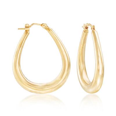 Italian Oval Hoop Earrings in 14kt Yellow Gold, , default