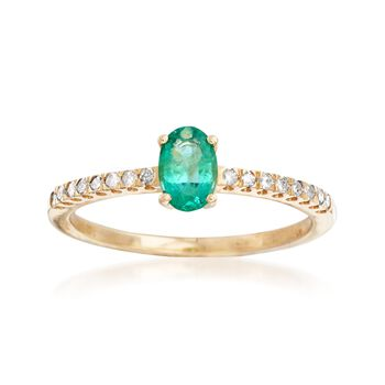 .30 Carat Emerald and .12 ct. t.w. Diamond Ring in 14kt Yellow Gold, , default