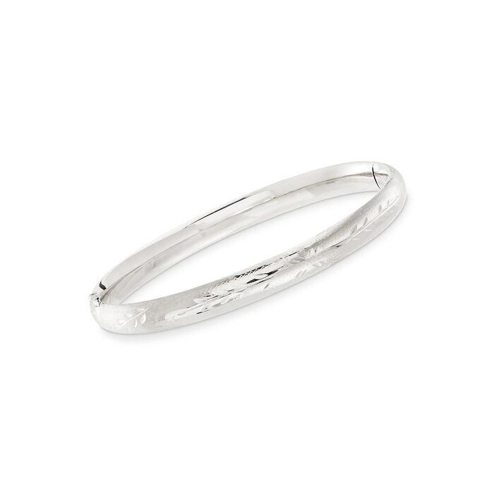 "Baby's 14kt White Gold Floral Bangle Bracelet. 5.5"""