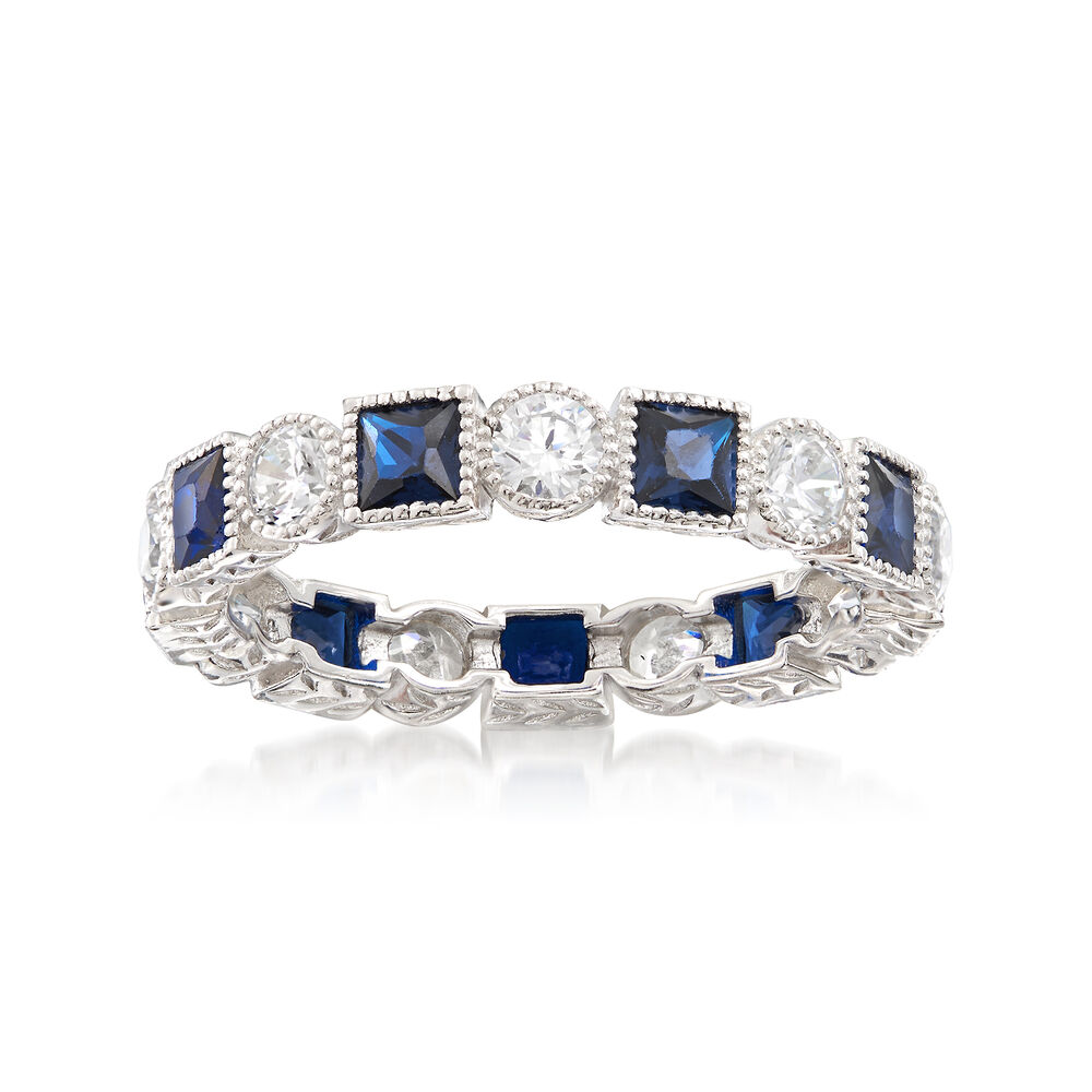 3faf174db382d 1.20 ct. t.w. Square Simulated Sapphire and .80 ct. t.w. CZ Eternity ...