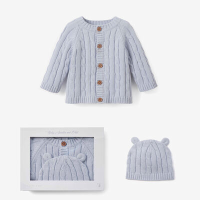 Elegant Baby Blue Cotton Cable Knit Sweater and Hat Set