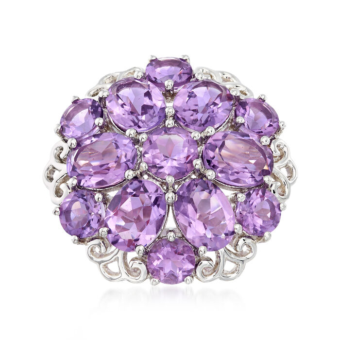 10.40 ct. t.w. Amethyst Cluster Ring in Sterling Silver, , default