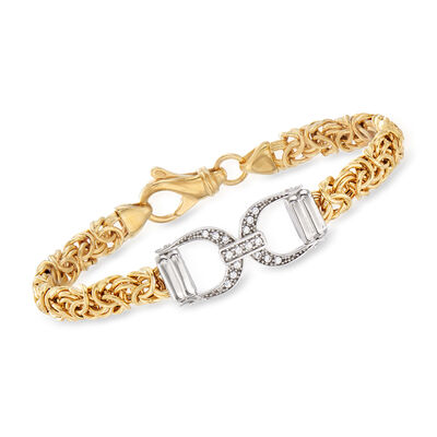 Italian .15 ct. t.w. CZ Horsebit Byzantine Bracelet in Sterling Silver and 18kt Gold Over Sterling, , default