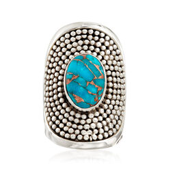 Stabilized Turquoise Wide Bead Ring in Sterling Silver, , default