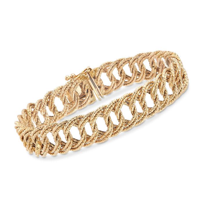 14kt Yellow Gold Textured Curb-Link Bracelet , , default