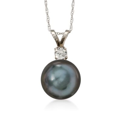 9-10mm Black Cultured Tahitian Pearl Necklace with .10 Carat Diamond in 14kt White Gold