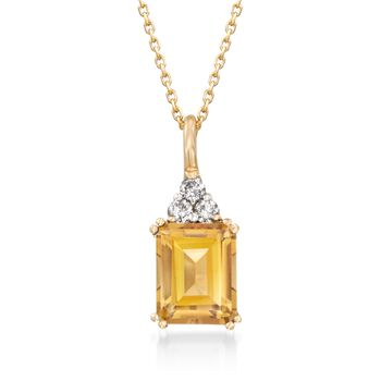 "3.20 Carat Citrine and .19 ct. t.w. Diamond Pendant Necklace in 14kt Yellow Gold. 16"", , default"