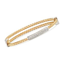 "Charles Garnier ""Alyson"" .45 ct. t.w. CZ Bar Bangle Bracelet in Two-Tone Sterling Silver, , default"