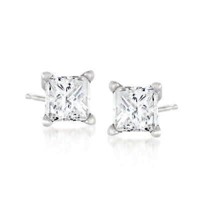 C. 1990 Vintage .50 ct. t.w. Diamond Stud Earrings in 14kt White Gold, , default