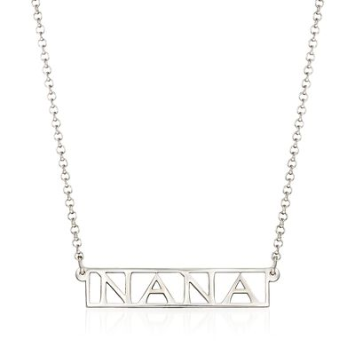 "Sterling Silver ""Nana"" Bar Necklace"