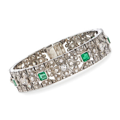 C. 1950 Vintage 5.65 ct. t.w. Diamond and 2.40 ct. t.w. Emerald Bracelet in 14kt White Gold, , default
