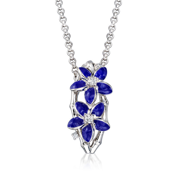 "Belle Etoile ""Leilani"" Blue Enamel and .17 ct. t.w. CZ Flower Pendant in Sterling Silver, , default"