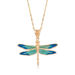 Italian Blue Enamel and 18kt Yellow Gold Dragonfly Pendant Necklace, , default