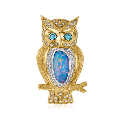 C. 1970 Vintage Black Opal and 1.01 ct. t.w. Blue and White Diamond Owl Pin/Pendant in 18kt Yellow Gold