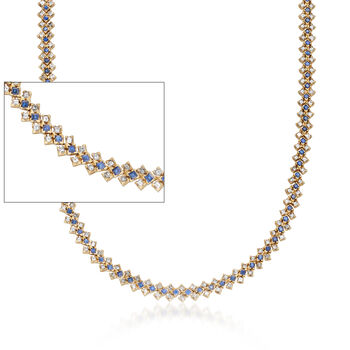 """C. 1990 Vintage 8.90 ct. t.w. Diamond and 4.40 ct. t.w. Sapphire Necklace in 18kt Yellow Gold. 16"""", , default"""