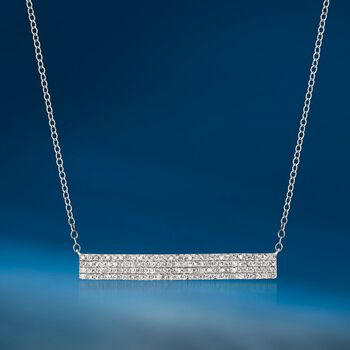 ".50 ct. t.w. Diamond Bar Necklace in 14kt White Gold. 16"", , default"