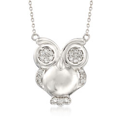 .25 ct. t.w. Diamond Owl Pendant Necklace in Sterling Silver, , default
