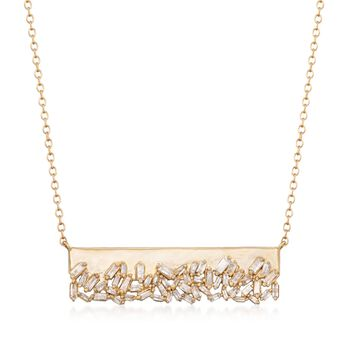 .59 ct. t.w. Baguette Diamond Bar Necklace in 14kt Yellow Gold, , default