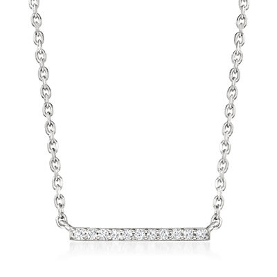 Diamond-Accented Bar Necklace in Sterling Silver