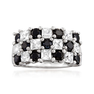 1.70 ct. t.w. White Topaz and 1.40 ct. t.w. Black Spinel Checkerboard Ring in Sterling Silver
