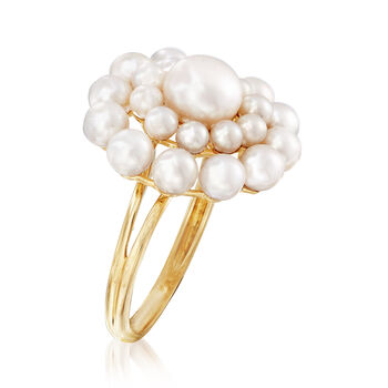 2-7mm Cultured Pearl Flower Burst Ring in 14kt Yellow Gold. Size 6, , default