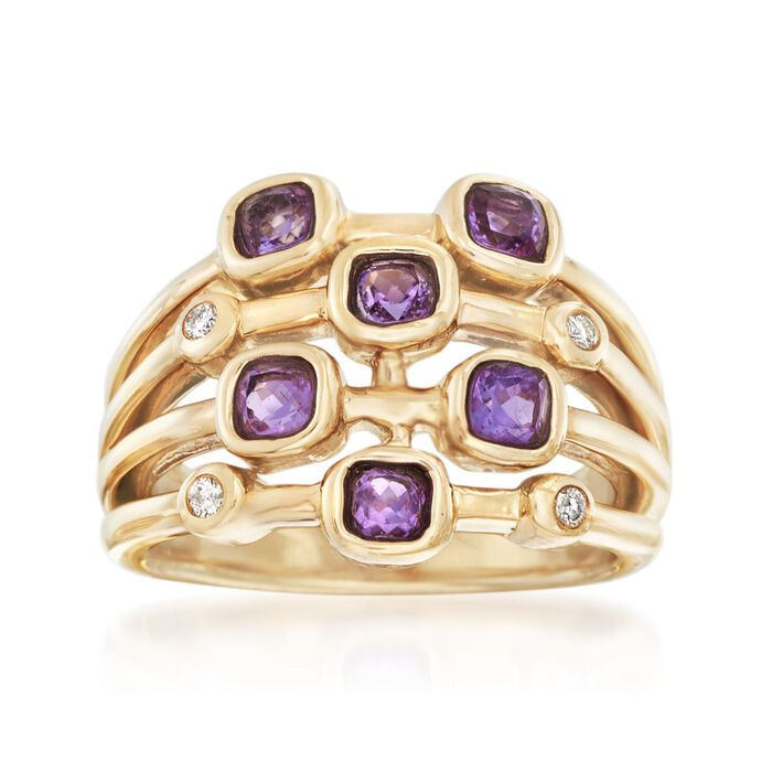 .80 ct. t.w. Amethyst Ring with Diamond Accents in 14kt Yellow Gold. Size 5, , default