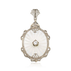 C. 1960 Vintage White Crystal and .20 Carat Diamond Pendant in 10kt White Gold, , default