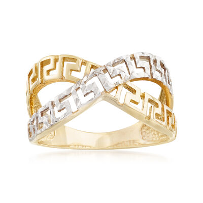 14kt Yellow Gold and White Rhodium Greek Key Crisscross Ring, , default