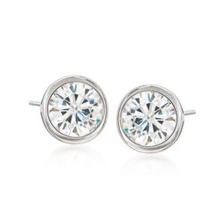 2.00 ct. t.w. Bezel-Set Synthetic Moissanite Stud Earrings in 14kt White Gold, , default