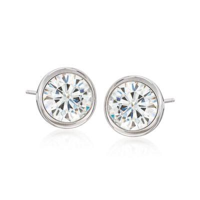 2.00 ct. t.w. Bezel-Set Synthetic Moissanite Stud Earrings in 14kt White Gold, , default