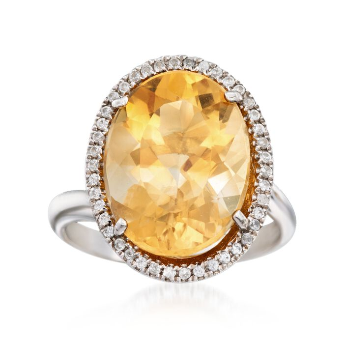 8.25 Carat Citrine and .80 ct. t.w. White Topaz Ring in Sterling Silver, , default