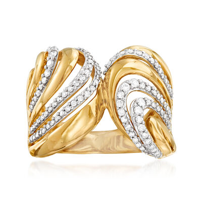 .50 ct. t.w. Diamond Double-Wave Ring in 14kt Yellow Gold, , default