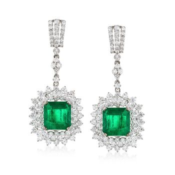 6.72 ct. t.w. Emerald and 4.47 ct. t.w. Diamond Drop Earrings in 18kt White Gold, , default