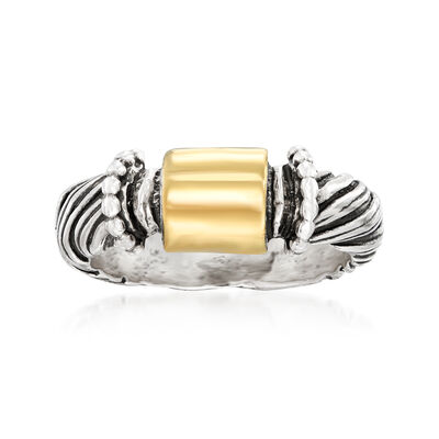Sterling Silver and 14kt Yellow Gold Roped Ring