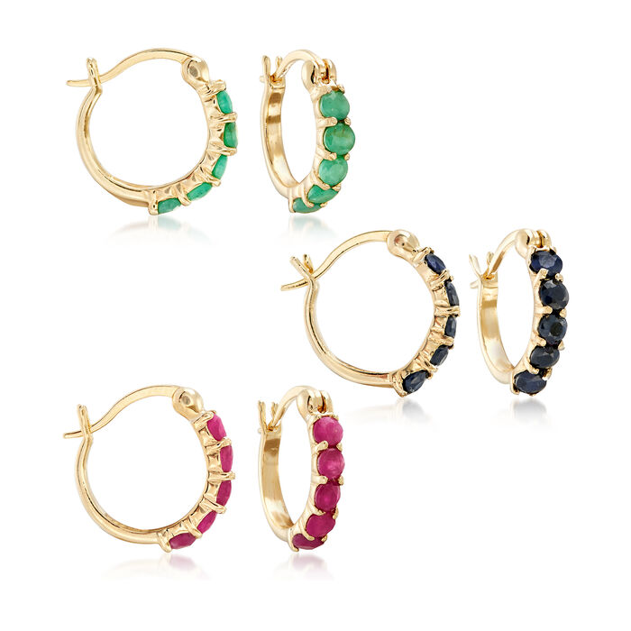 2.60 ct. t.w. Ruby, Emerald and Sapphire Jewelry Set: Three Pairs of Huggie Hoop Earrings. 1/2""
