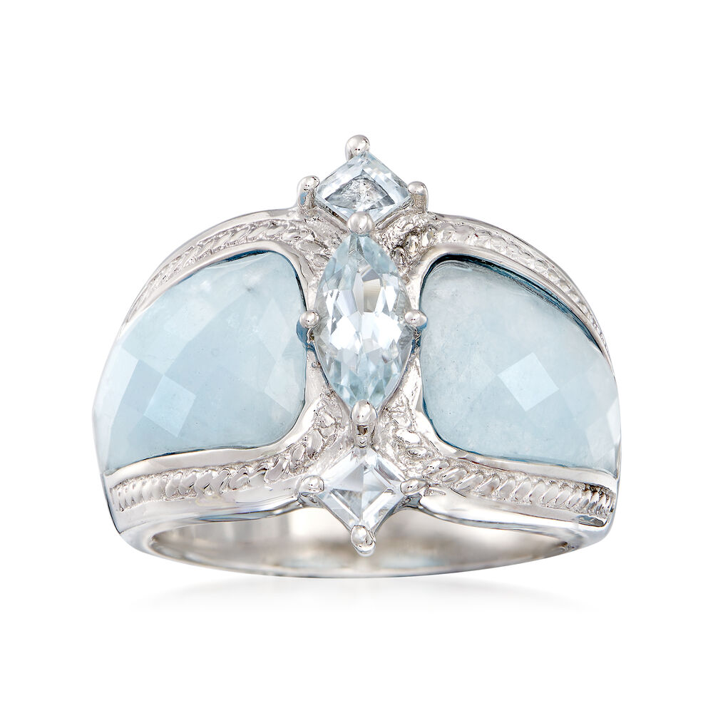 51a3aa4aa Milky Aquamarine and .85 ct. t.w. Blue Aquamarine Ring in Sterling Silver, ,